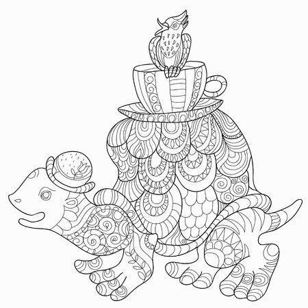 tortuga caricatura: Silueta de la historieta peque�a tortuga y aves ilustraci�n vectorial lindo y divertido. La coloraci�n del doodle con tortuga feliz camina con un p�jaro