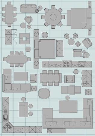Símbolos muebles estándar utilizados en la arquitectura planes de iconos conjunto, elementos de diseño gráfico, icono de la planificación de la casa conjunto. Ilustración de vector