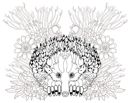 echidna: Hand drawn animal  Echidna hand drawn in zentangle style. Vector monochrome sketch doodle.Tattoo, totem, coloring page. Illustration