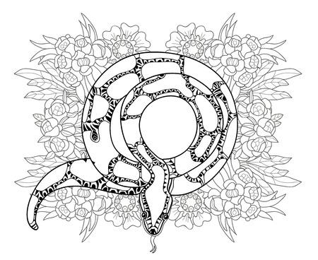 groviglio: Doodle disegnato a mano contorno anaconda decorato con ornaments.Vector groviglio zen illustration.Floral ornamento.