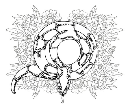 zoo dry: Hand drawn doodle outline anaconda decorated with ornaments.Vector zen tangle illustration.Floral ornament. Illustration