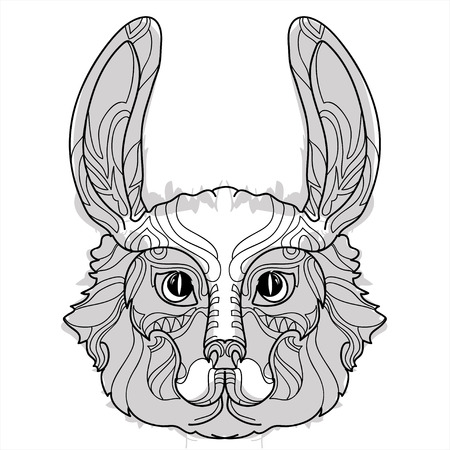animal head: Rabbit head doodle  on white background.Vector illustration. Sketch for tattoo or coloring book. Animal collection.