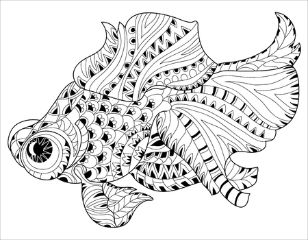 hand line fishing: Zentangle stylized floral china fish doodle. Hand Drawn vector illustration. Sketch for tattoo or coloring book. Illustration