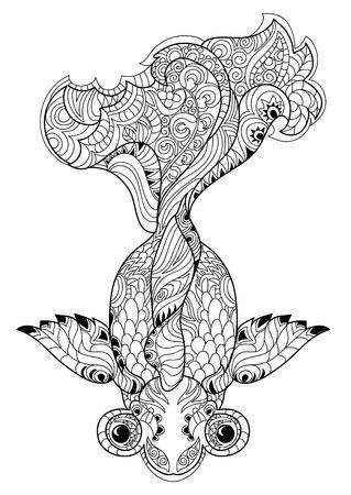Zentangle 様式化された花中国魚落書き。手描きの背景イラストです。タトゥーのぬり絵をスケッチします。  イラスト・ベクター素材