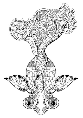 Zentangle stylized floral china fish doodle. Hand Drawn vector illustration. Sketch for tattoo or coloring book. Illustration