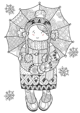 nice girl: Vector illustration doodle in winter snow girl under umbrella.