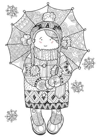 umbrella cartoon: Vector illustration doodle in winter snow girl under umbrella.