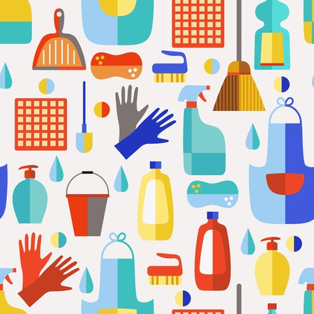 cleaning equipment: Cleaning products flat icon vector set.Cleaning service.Seamless pattern.