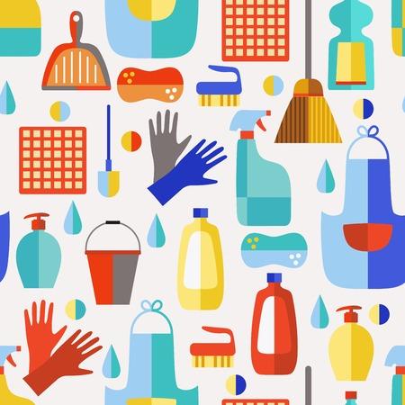 cleaning products: Productos de limpieza de iconos de vectores patrón service.Seamless set.Cleaning plana.
