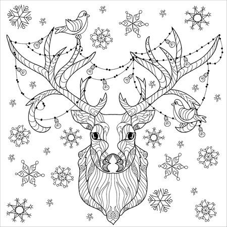 lighting bulb: Christmas deer head doodle with lighting bulb. Illustration