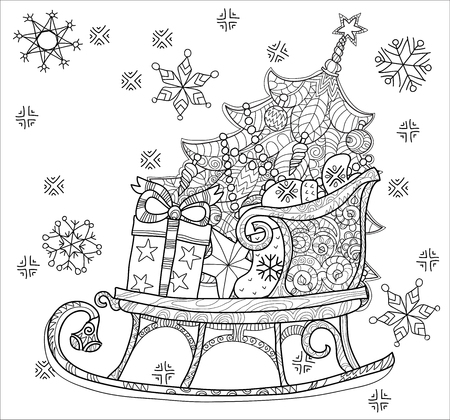 Hand drawn Christmas doodle sketch sledge on squared paper. Sleighs, gift boxes,  Christmas tree. Vector illustration isolated. Illustration