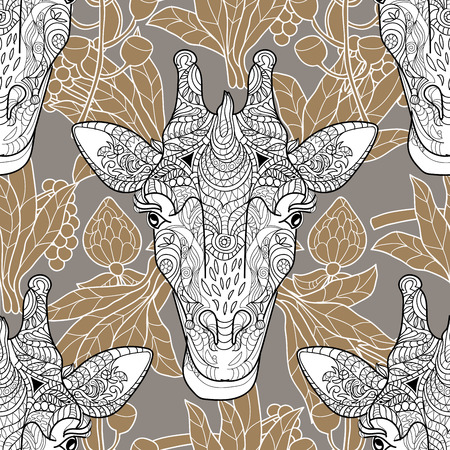 Giraffe head doodle pattern beige background.Graphic illustration vector seamless pattern.