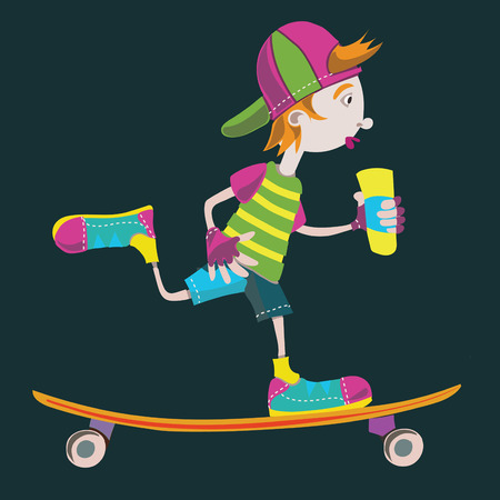 skate park: Longboard skater teen vector isolated illustration blackbackground. Vectores