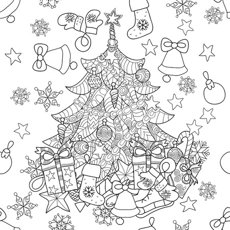 Merry Christmas zentangle fir tree doodle . Hand drawn vector background with Christmas decorations, Christmas tree, ball, star and snowflakes.