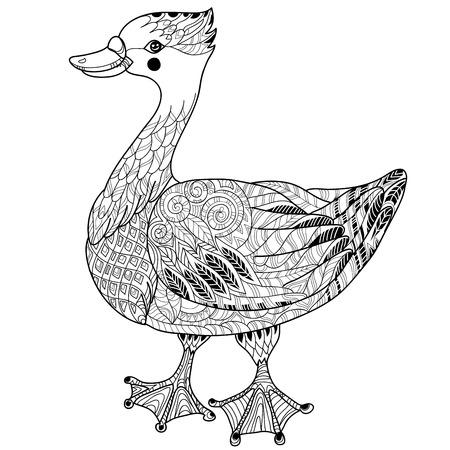 Cute goose hand drawn doodle .Bird zentangle collection.