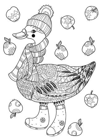 apple christmas: Christmas goose in funny hat doodle with  apples.Bird  collection.