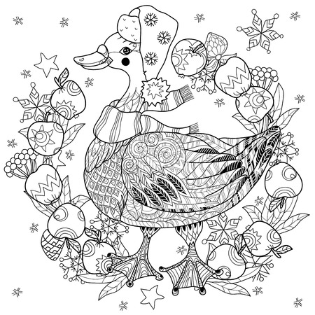 christmas goose: Christmas goose in funny hat doodle with frame apples.Bird  collection. Illustration