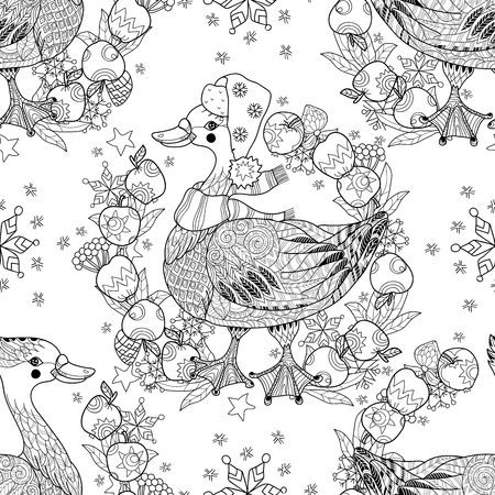 christmas goose: Christmas goose in funny hat doodle with frame apples.Seamless pattern vector illustration.Bird  collection.
