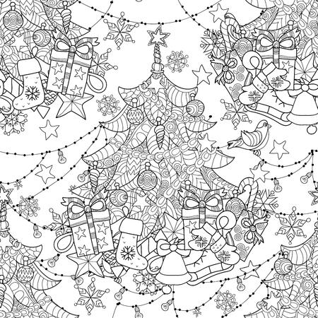 flocon de neige: Doodle sapin de Joyeux No�l. Main dessin�e vecteur de fond avec des d�corations de No�l, arbre de No�l, boule, �toiles et flocons de neige. Illustration