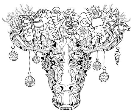 Christmas ornamental head of elk. Black-and-white doodle. Layered vector illustration. Stock Illustratie