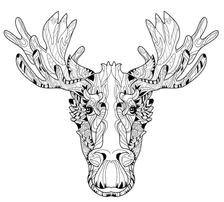 Ornamental head of elk. Black-and-white doodle. Layered vector illustration.
