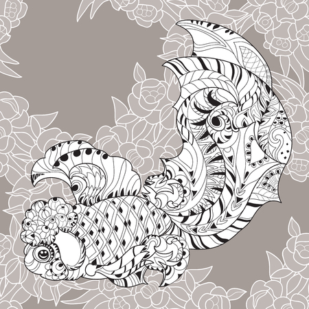 indian fish: Zentangle stylized floral china fish doodle. Hand Drawn vector illustration seamless pattern. Sketch for tattoo or coloring book.