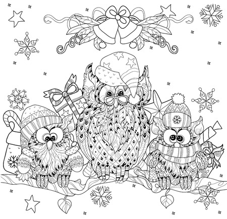 black and white image drawing: Christmas Owl  on tree branch with small owls  - hand drawn doodle vector on white background.Isolated layered illustration zentangle ready for coloring book.