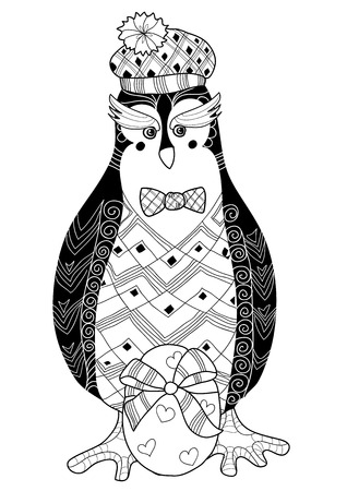 animalia: Egg and penguin doodle.Vector illustration layered ready for coloring.