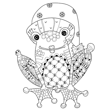 christmas frog: Cute Frog Prince in christmas hat.Vector illustration zentangle isolated ready for coloring book.