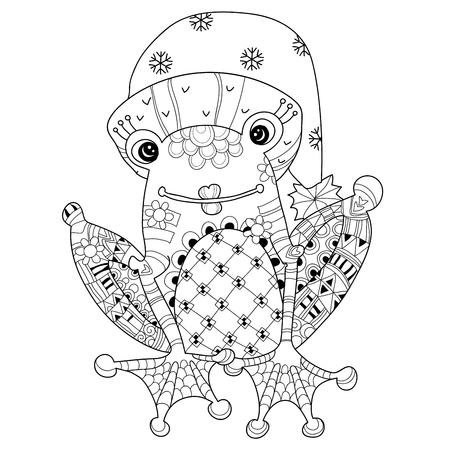 principe rana: Pr�ncipe de la rana linda navidad en la ilustraci�n hat.Vector zentangle aislado listo para dar color.