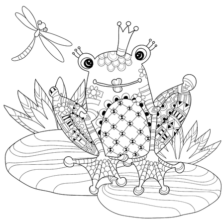 frog prince: Cute Frog Prince in crown with lotus.Vector illustration zentangle  isolated ready for coloring book. Illustration