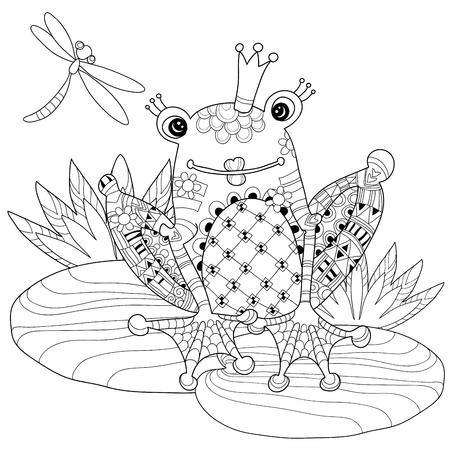 principe rana: Pr�ncipe de la rana linda en corona con la ilustraci�n lotus.Vector zentangle aislado listo para dar color.