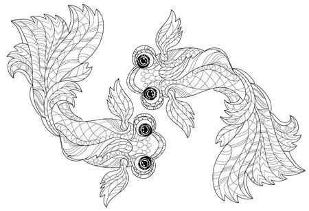 stylized floral china fish doodle. Hand Drawn vector illustration. Sketch for tattoo or coloring book.