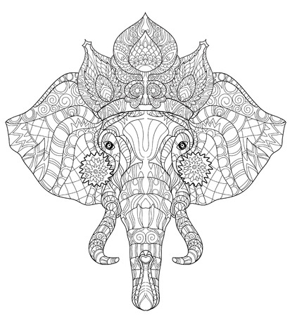 siluetas de elefantes: Elefante del doodle de la cabeza en la ilustraci�n blanca background.Graphic zentangle listo para dar color vectorial. Vectores