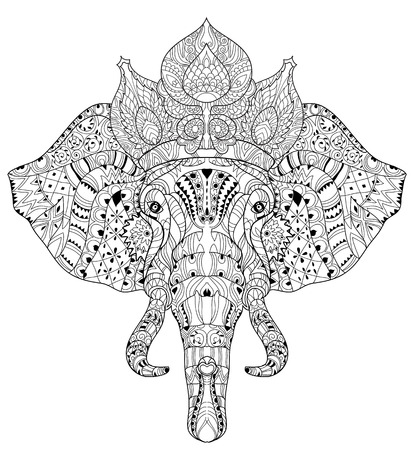 Elephant head doodle on white background.Graphic illustration vector zentangle ready for coloring book. 일러스트