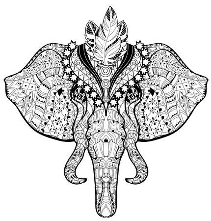siluetas de elefantes: Elefante del circo del doodle de la cabeza en blanco background.Graphic vector listo para el libro de colorear del vector.