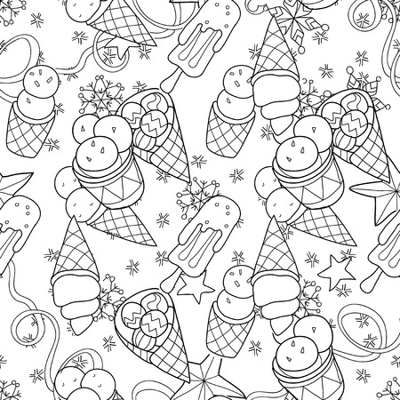 winter season: Ice cream christmas seamless pattern.Hand drawn vector doodle.