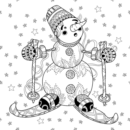 doodle hand drawn Snowman ski on white background. Christmas vector seamless pattern. 일러스트