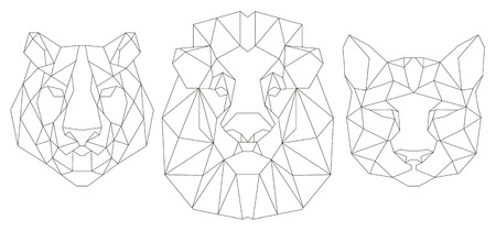 Front view of animal head triangular icon , geometric trendy line design. Vector illustration ready for tattoo or coloring book. Lion, tiger, puma. 向量圖像