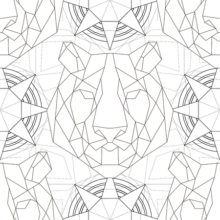 Animal head triangular icon , geometric pattern trendy line design. Vector illustration ready for tattoo or coloring book. Tiger seamless pattern.
