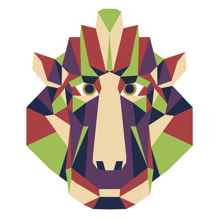 print shop: Monkey head triangular icon , geometric trendy low poly design. Vector illustration ready poster or print shop. Monkey  from Africa -  gibbon.Chinese New Year 2016 symbol.