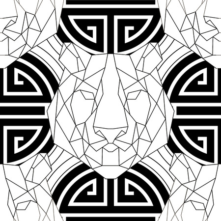 lucky symbol: Animal head triangular icon , geometric pattern trendy line design. Vector illustration ready for coloring book or print shop. Tiger seamless pattern.Chinese Lucky Symbol