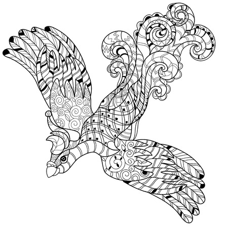 extravagant: stylized peacock Hand Drawn vector illustration. Sketch for tattoo or makhenda. Bird collection.