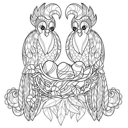 loro: loro estilizada en su nido. Dibujados a mano de ilustración vectorial. Boceto para el tatuaje, colorante o makhenda. colección de aves.