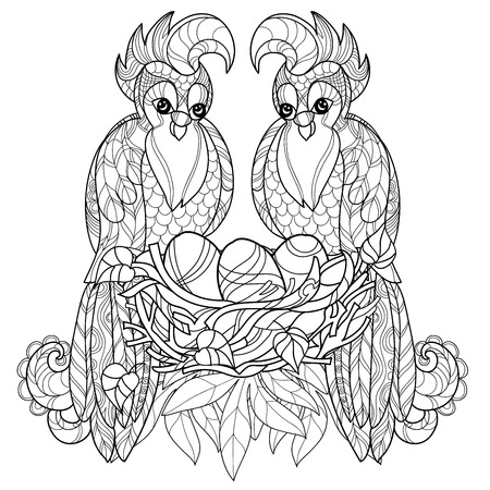 parrot tail: stylized parrot on nest. Hand Drawn vector illustration. Sketch for tattoo,coloring or makhenda. Bird collection. Illustration