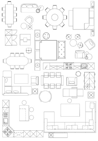 Standard furniture symbols used in architecture plans icons set, graphic design elements,home planning icon set.