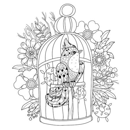 captivity:  stylized bird in cage. Hand Drawn vector illustration. Sketch for tattoo,coloring or makhenda. Bird collection.