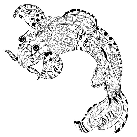 Zentangle stylized floral china fish carp doodle. Hand Drawn vector illustration. Koi sketch for tattoo or coloring book.