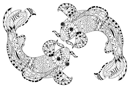 indian fish: Zentangle stylized floral china fish carp doodle. Hand Drawn vector illustration. Koi sketch for tattoo or coloring book.