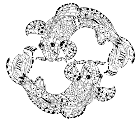 fauna: Zentangle stylized floral china fish carp doodle. Hand Drawn vector illustration. Koi sketch for tattoo or coloring book.
